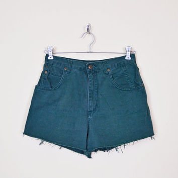 Forest Green Jean Short Denim Short High Waist Short Waist Jean Cut Off Short Cut Off Jean Cutoff Short Cutoff Jean 80s 90s Grunge M Medium