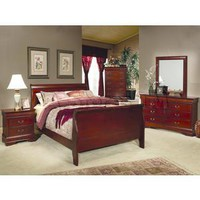Louis Philippe 4 PC Bedroom Set in Cherry | Bedroom sets COA-200431-SET-4pc/8
