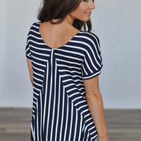 NAVY WHITE STRIPED TUNIC