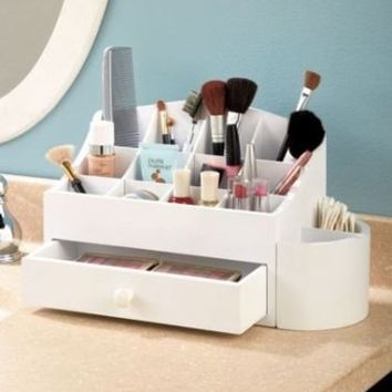 White Wooden Makeup Cosmetic Beauty Organizer with Storage Drawer & 14 Compartments Bathroom…
