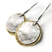 Mixed Metal Earrings, Brass Sterling Silver Disc Coin Dangle Boho