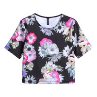 H&M - Patterned Top - Black floral - Ladies