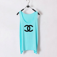 Just Chanel  Women Tank Top  Light Blue