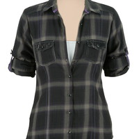 3/4 sleeve plaid lace pocket shirt