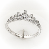 14k White Gold and CZ Delicate Crown Ring - 14k White Gold