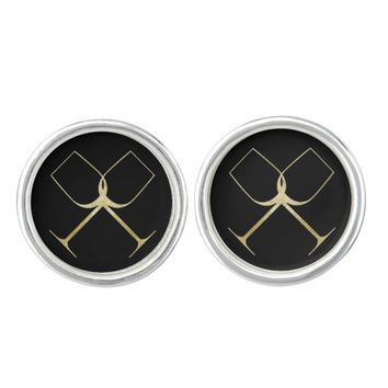 Gold Glitter Wine Glasses Cuff Links