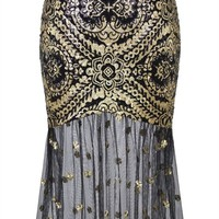 Angel-fashions Women's Sleeveless V-Neck Sequins Lace Up Back Evening Dress