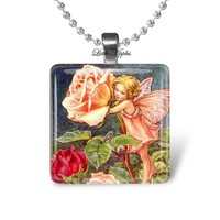 20mm Scrabble Size Small Glass Rose Fairy Necklace Practical Gift