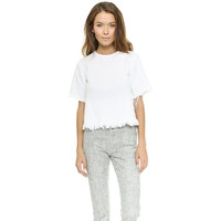 T By Alexander Wang Crewneck Crop Top With Frayed Hem - White