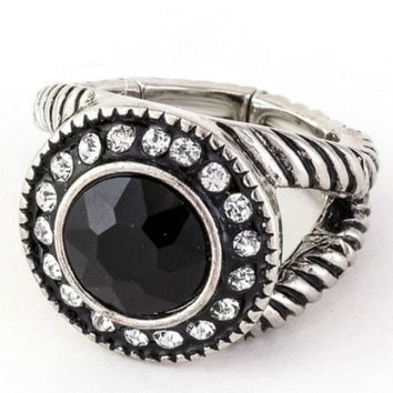 Beautiful Antique Rhodium Black Paved Glass Stone Stretch Ring