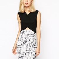 River Island Mono Print Cut Away Dress at asos.com