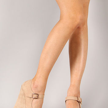 Wild Diva Lounge Kendall-54 Suede Mary Jane Platform Wedge