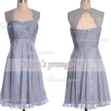 2014 prom dress,lace chiffon short dress,evening dress,bridesmaid dress,prom gown.cocktail dress,wedding gown,homecoming dress