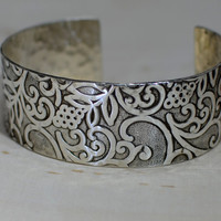 Sterling silver hammered botanical jungle of flowering vines cuff bracelet