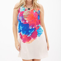 FOREVER 21 PLUS Watercolor Floral Shift Dress Peach/Magenta