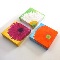 THREE BRIGHT DAISIES, Floral Art for Home or Office, Set of 3, 6x6 acrylic canvases