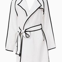 White Classic Coat With Belt - Choies.com