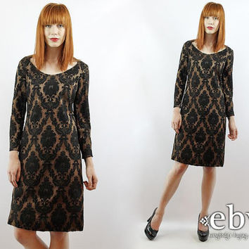Vintage 70s Nude + Black Longsleeve Damask Party Dress XXS XS Black Cocktail Dress Black Dress Glam Dress Damask Dress