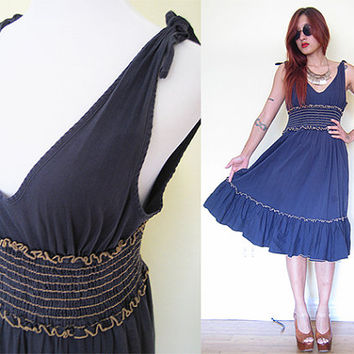 Vintage 70's navy dark blue low open back smock  hippie boho bohemian daydress