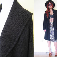 Vintage knit black cardigan long oversized slouchy mad men 50's style coat jacket drapped