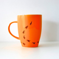 The Saloma hand painted mug orange ants by funkytiles on Etsy