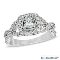 Celebration 102® 1 CT. T.W. Princess-Cut Diamond Engagement Ring in 18K White Gold (I/SI2)