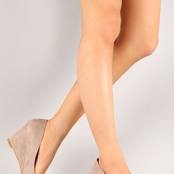Nine-5 Suede Round Toe Wedge