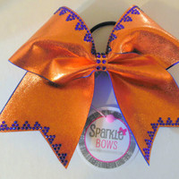Mango Tango Princess Trim Rhinestone Large Cheer Bow Hair Bow Cheerleading