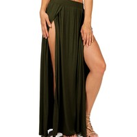 Sale-olive Double Front Slit Maxi Skirt