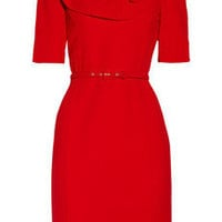 Oscar de la Renta | Ruffled wool-crepe dress | NET-A-PORTER.COM