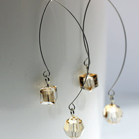 Dramatic Long Light Topaz Swarovski Crystal Earrings