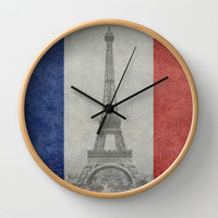 Distressed National Flag of France with Eiffel Tower insert Wall Clock by Bruce Stanfield