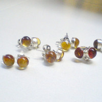Dominican Amber studs Sterling silver 925 by DOMINICANLOUNGE