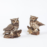 Owl Figurines Pair Vintage Home Decor