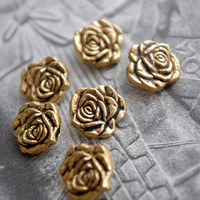 6 small buttons mini vintage antic button gold rose flower shape button romantic buttons set