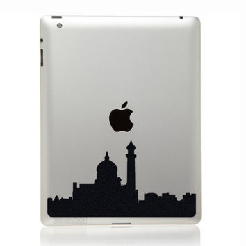 Marrakesh City Skyline Black Velvet Decor - Marrakech Silhouette - Mosque iPad Decal - Moroccan Decor iPad Sticker