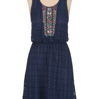 Embellished high-low lace dress