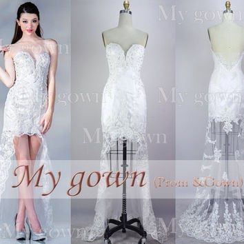 2014 Prom Dress,Hi-low Rich Bead Lace Applique Homecoming Dress,Cocktail Dress,Dresses,Wedding Dress,Formal Dress,Evening dress,Wedding Gown