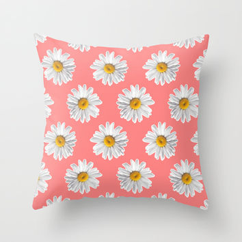 Daisies & Peaches - Daisy Pattern on Pink Throw Pillow by Tangerine-Tane