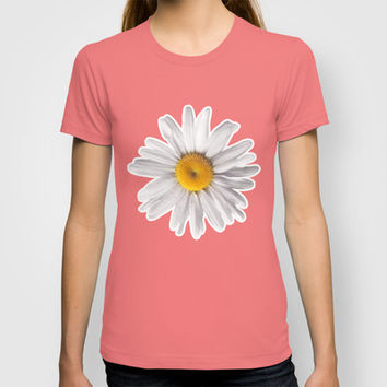 Daisies & Peaches - Daisy Pattern on Pink T-shirt by Tangerine-Tane | Society6