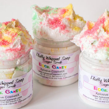 Fluffy Whipped Soap Sugar Scrub  Rock Candy 4 oz. Vegan