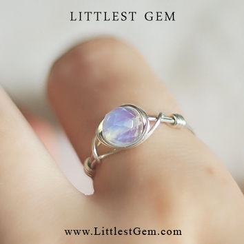 Silver Moonstone ring  wire wrapped jewelry handmade  wire