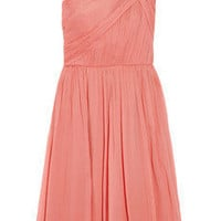 J.Crew|Lucienne one-shoulder silk-chiffon dress|NET-A-PORTER.COM