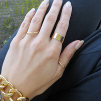 Set of 3 Simple Gold Thick Thin Bands - layering, knuckle stack stacking rings wide band trendy statement jewelry midi mid designer inspired