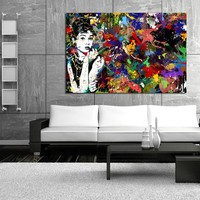 """Audrey Hepburn"" Figurative Canvas Print Wall Art"
