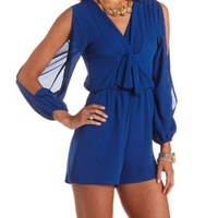 TIE-FRONT COLD SHOULDER WRAP ROMPER