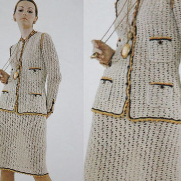 Chanel 70s suit blazer Vintage pattern PDF Instant Download knitted crochet 70s knitted supplies epsteam knitting pattern top dress suit
