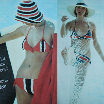 PDF Instant Download 2 pattern Bathing suit Vintage pattern bikini crochet swim wear 70s sun hat knitted supplies epsteam knitting pattern