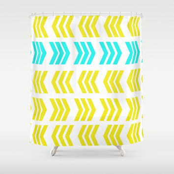 Aqua Pop Zig Zag Shower Curtain by Lisa Argyropoulos | Society6