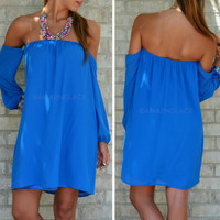 Haywood Hills Blue Open Shoulder Dress